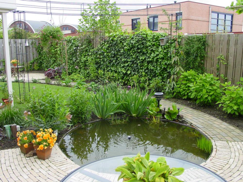 Tuin met vijver pergola en slingerpaadjes hofhouding for Tuin en vijver
